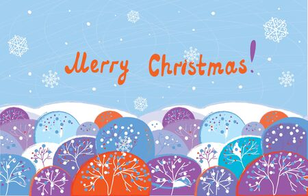 Christmas card with trees funny design Vector