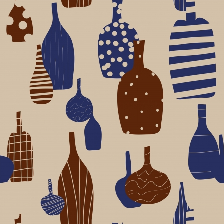 Wine bottles seamless background with silhouettes Vector