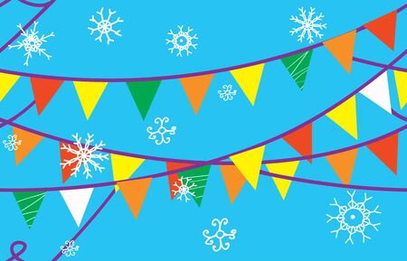 Christmas seamless border with flags and snow Vector