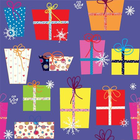 Christmas presents seamless pattern with snow Stock Vector - 16756925