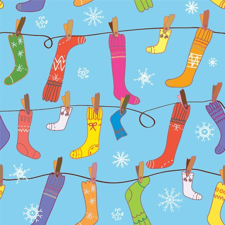 Christmas pattern with socks and snow seamless Stock Vector - 16756921