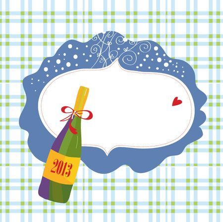 Bottle of champagne and frame christmas card Vector