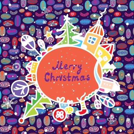 Whimsical christmas card with town and pattern Stock Vector - 16756927