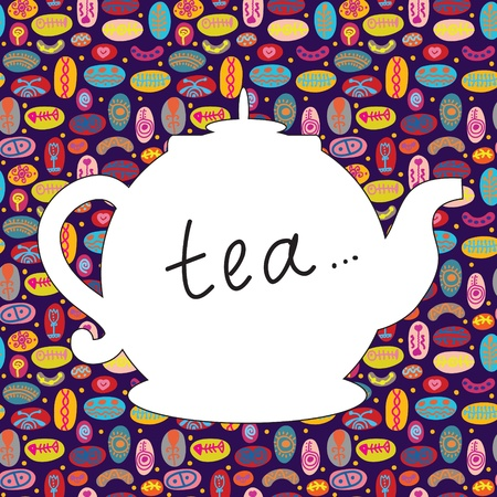 Tea time background with teapot and pattern Vector