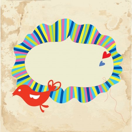 Holiday frame with bird and hearts on paper texture Vector
