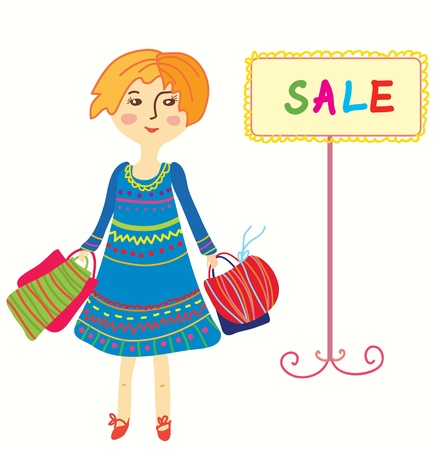 Girl with shopping bags - sale cartoon Stock Vector - 16824432