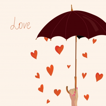 Valentine card with hearts and umbrella  Vectores