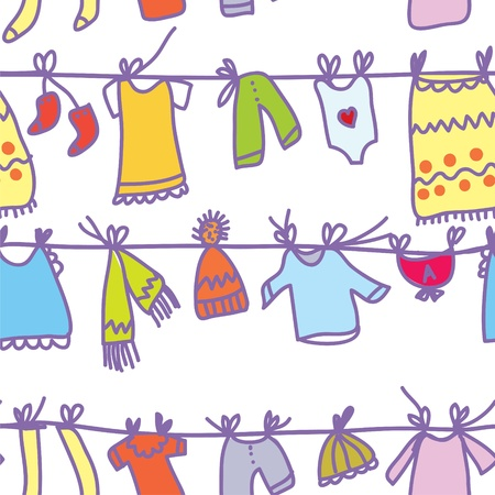 Baby clothes set seamless pattern - funny design Vector