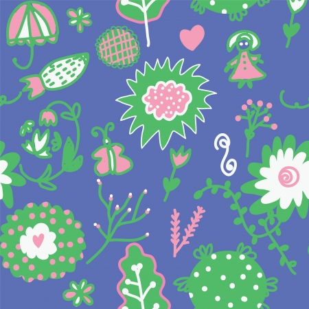 Whimsical floral seamless pattern for kids Vector