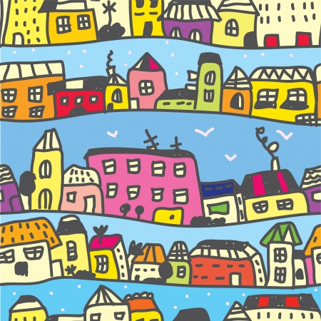 Town seamless pattern funny cartoon Vector