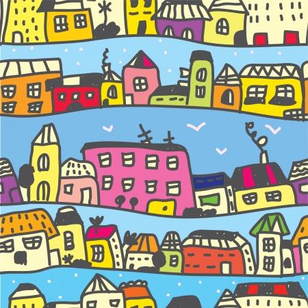 Town seamless pattern funny cartoon Stock Vector - 16824466