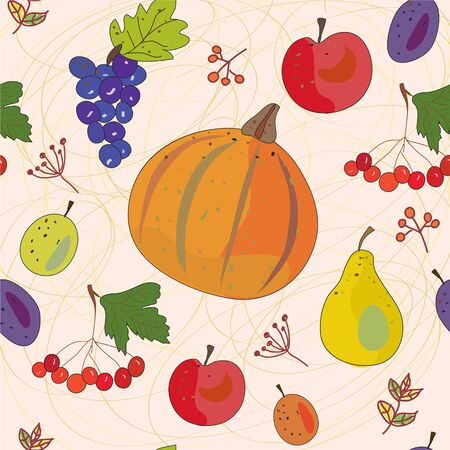 Vegetables and fruits autumn seamless pattern Stock Vector - 16824436