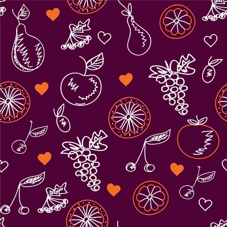 Fruits sketches seamless pattern with hearts Vector