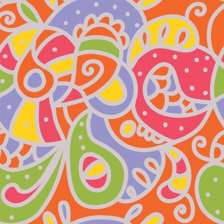 Paisley seamless whimsical pattern in bright colors Stock Vector - 17105987