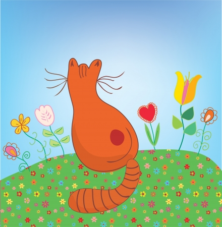 Cat outdoor in the flowers funny cartoon Stock Vector - 17105996