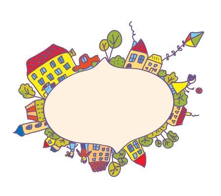 Frame with children, houses, kite funny design Stock Vector - 17105989