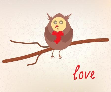 Owl love valentine card funny design Stock Vector - 17105993