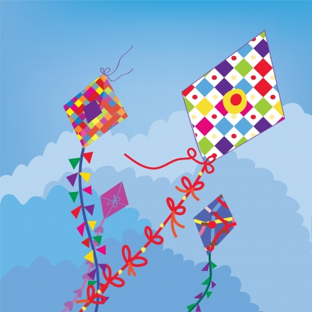Kites in the sky funny background Vector