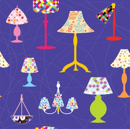 Lamps and lights seamless funny pattern Stock Vector - 17260505