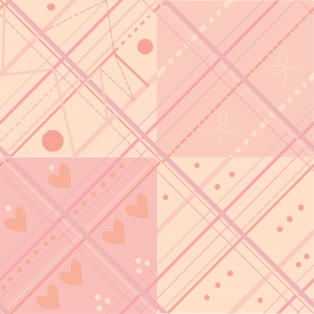 chequered ribbon: Seamless plaid pink pattern set for baby Illustration