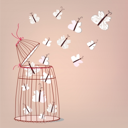 Freedom illustration - cage and butterflies flying Vector