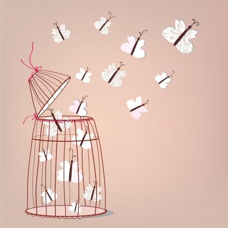 Libertà illustrazione - gabbia e farfalle che volano Vettoriali