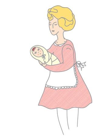 nursing mother: Madre y beb� ilustraci�n estilo retro