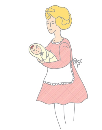 Mother and baby retro style illustration  Vector