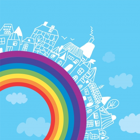 immovable property: Rainbow town funny background for children Illustration