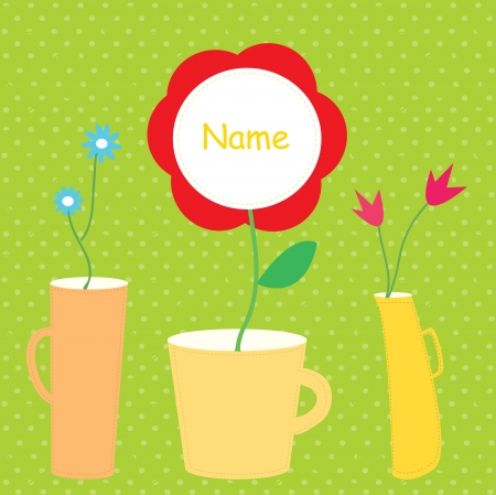 Flower baby card with vases funny design Stock Vector - 17479209