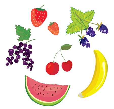 Fruits and berry set Stock Vector - 17479208