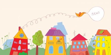 집, 새, 꽃 재미 디자인 - 뉴스 배너 일러스트