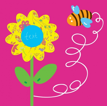 Bee and flower greeting baby card cartoon Stock Vector - 17715919