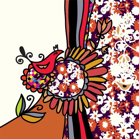 Bird and flowers background for greeting card Stock Vector - 17715918