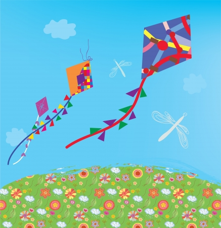 Kites at the sky outdoor in the field Stock Vector - 17715929