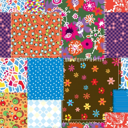 Patchwork seamless pattern for sewing Illustration