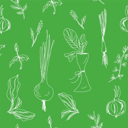 Greens and salad seamless hand drawn design Vector