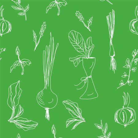 Los verdes y ensalada de dise�o dibujado mano sin fisuras