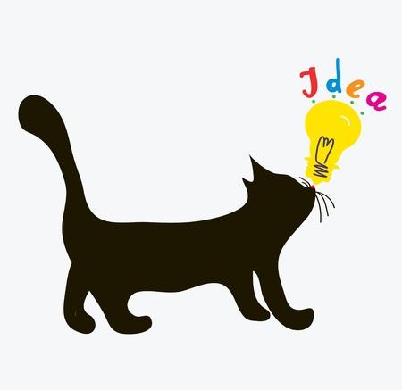 Cat with idea light bulb - funny concept Stock Vector - 17851194