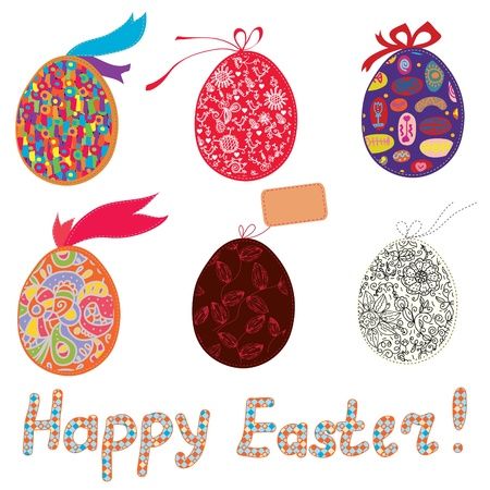 Easter eggs with patterns, bow and banner Stock Vector - 17851206