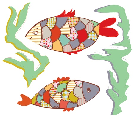 Patchwork fishes  in the water funny design set Vector