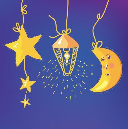 sonne mond und sterne: Baby-Nacht Hintergrund mit Mond, Sterne und lantenn