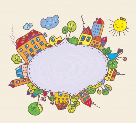 마을과 아이들 재미있는 디자인을 가진 아이들을위한 프레임 일러스트