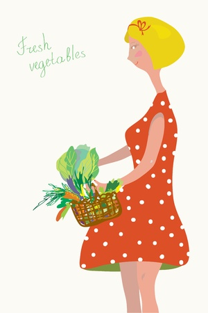 Cute girl with fresh vegetables vintage design  Vector