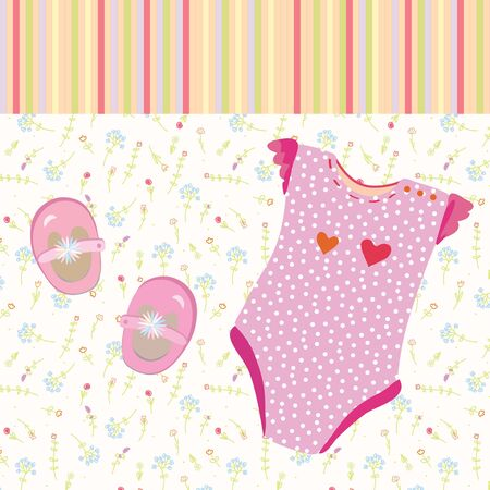 baby girl background: Baby girl background with shoes and dress Illustration