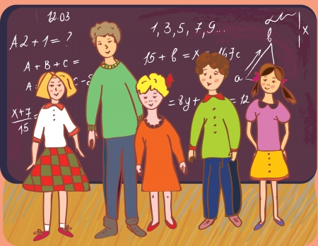 cartoon school girl: Children at school with teacher at the blackboard