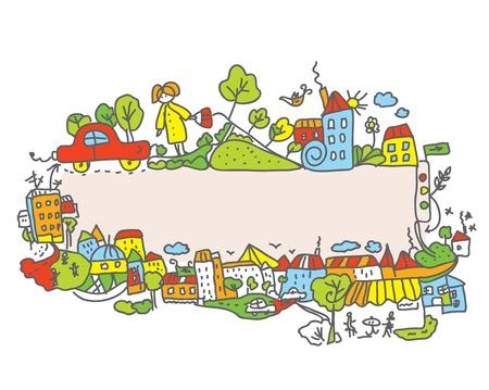 City frame for children cartoon