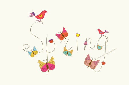 Spring word banner with butterflies and birds Illustration