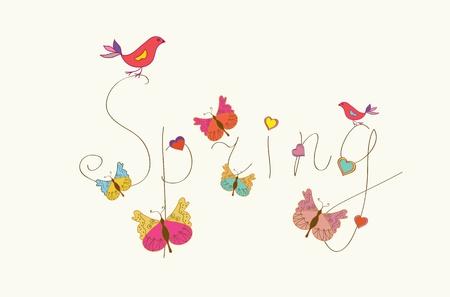 Spring woord banner met vlinders en vogels
