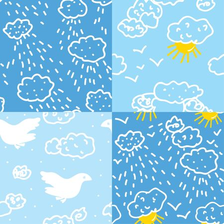 Weather in sky seamless patterns set Vector